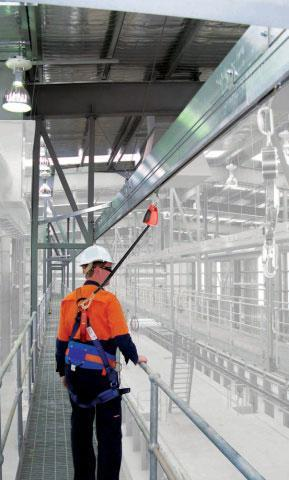 Sayfa's Raptor Rigid Rail System for abseiling and overhead work areas.